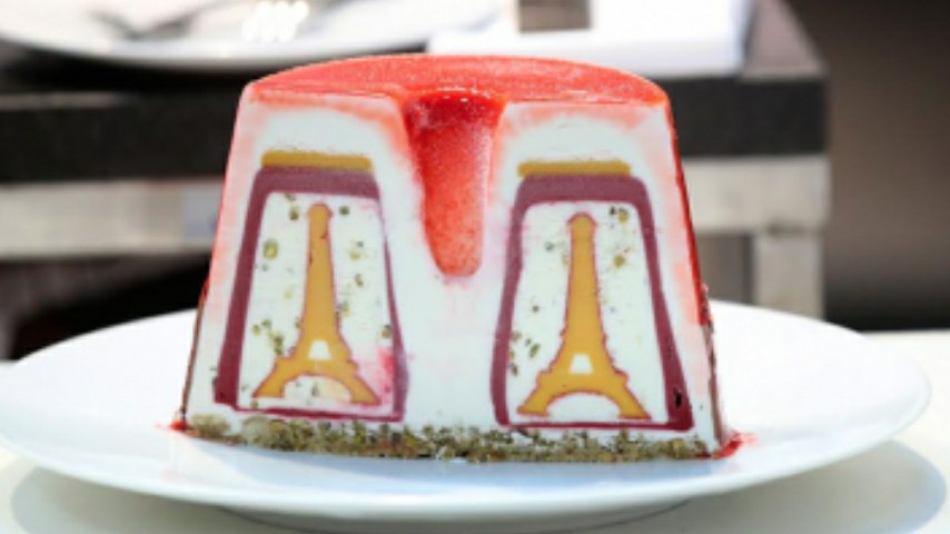 France's entry in the Gelato World Cup 2018 in the gelato cake category: a cake with the Eiffel Tower appearing once cut