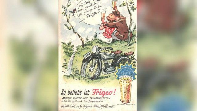 Old German poster for sherbet powder (brausepulver) depicting a couple drinking Frigeo drink in nature