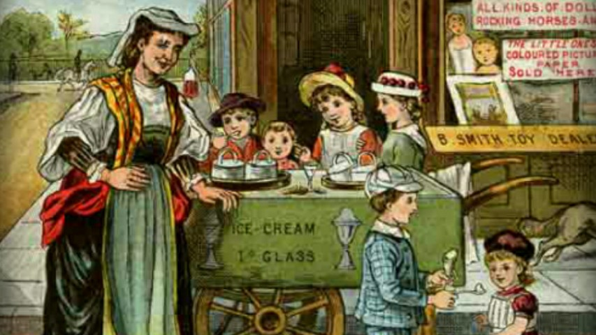 Drawing picturing a woman selling ice cream to kids, dressed in the style of the Victorian Era in Britain