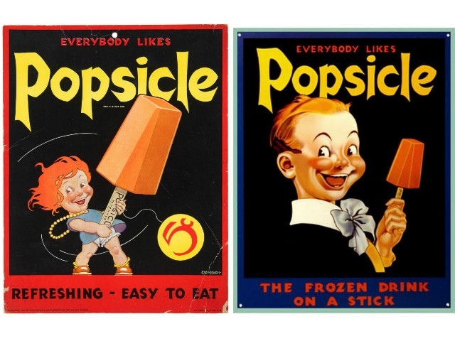 "Advertisements for popsicles of the 1930s depicting two kids smiling. On both is written ""Everybody loves popsicles"", on the first ""Refreshing - easy to eat"" and on the second ""The frozen drink on a stick""."