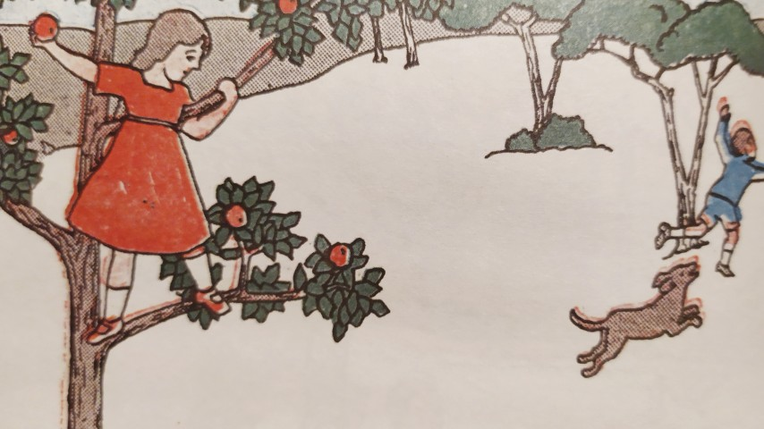 Illustration showing a girl on an apple tree and a boy playing with a dog