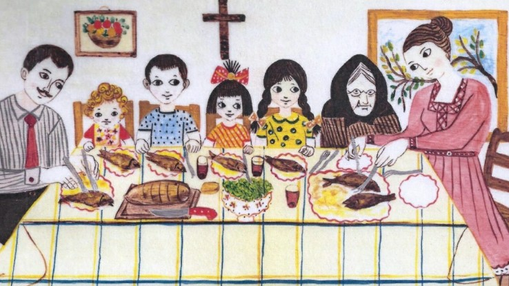 Illustration showing a family (father, mother, grandmother and four children) eating on the family table