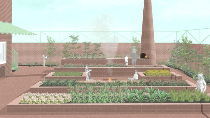 3d render of a garden and children picking up vegetables