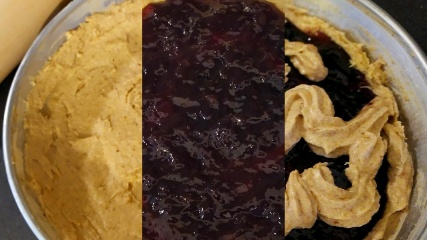 A collage of three photos showing the three levels of our Linzer torte, the base of dough, the jam filling and the piped decorations